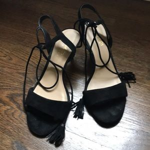 Lord & Taylor Shoes - Lord & Taylor. Tassel. Black Suede Kitten Heel.